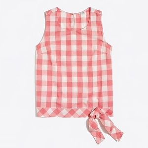 J Crew Factory Gingham side-tie shell